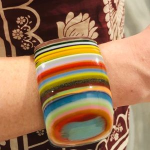 Jewelry - Artist made dope multi stacked color resin bangle